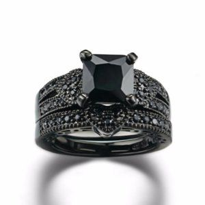 Black Diamond Wedding Ring Gothic 2 Piece Set 7